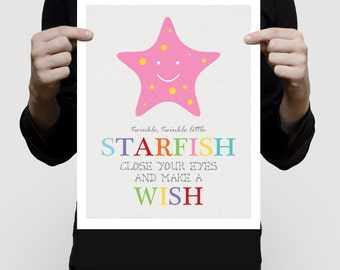 twinkle little starfish printed nursery art, colourful sea ocean beach nursery decor, pink girl's bedroom decor artwork print, star rainbow
