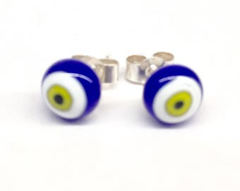 Murano Glass Millefiori Stud Earrings - Blue and Lime Green Bullseye on Sterling Silver Stud Post