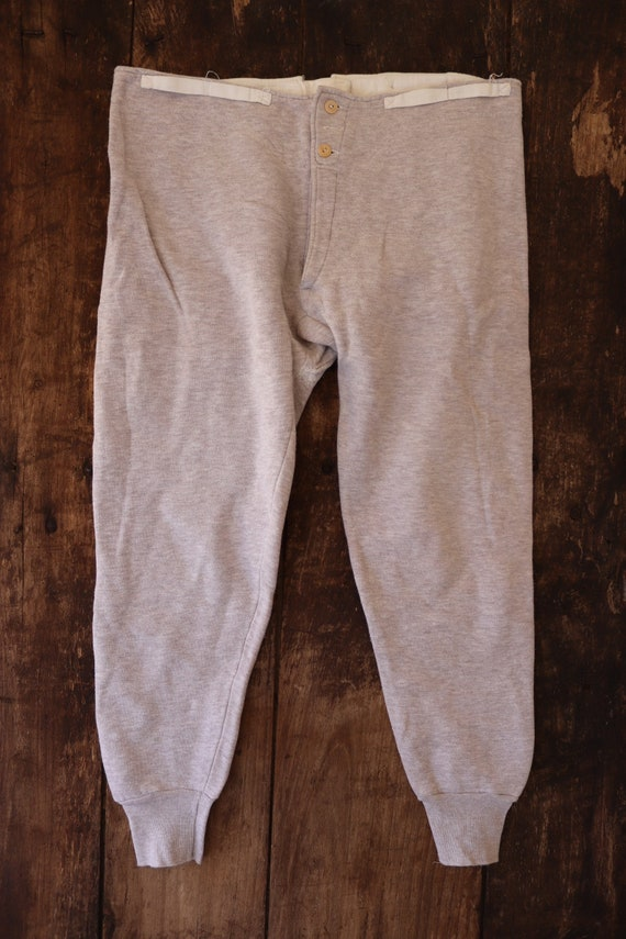 """Vintage 1950s 50s french army military long johns jersey flocked underwear button fly lounge joggers 35"""" x 26"""" darned repaired"""
