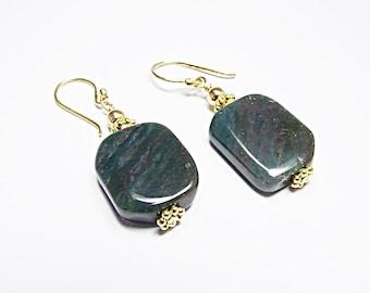 Fancy Green Jasper Earrings (Autumn)  by Gonet Jewelry Design