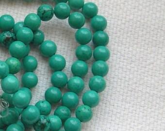 ROUND TURQUOISE beads, stone beads 48 gems, 8 mm diameter