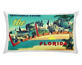 Palm Beach Florida Pillow Covers, Wanderlust Gifts, Travel Theme Pillow, Retro Florida Housewarming Gift, FL Home Pillow, West Palm Beach