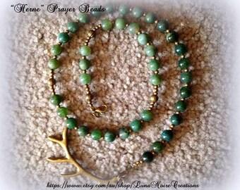 Bronze Antler prayer beads - Herne, Cernunnos and Elen of the Ways