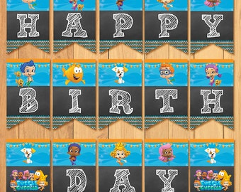 Bubble guppies thank you card chalkboard bubble guppies bubble guppies birthday banner chalkboard bubble guppies birthday bubble guppies banner bubble guppies favors maxwellsz