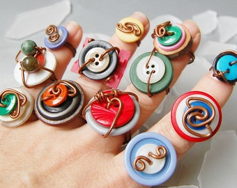 Colorful button rings in copper one dozen (12) with vintage buttons, wholesale