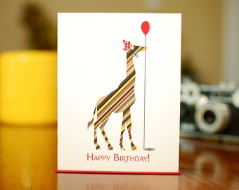 Striped Giraffe in Party Hat with Balloon - Happy Birthday Card (100% Recycled Paper)