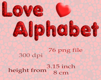 Heart alphabet Love alphabet clipart Monogram Scrapbooking Elements for Personal and Commercial Use