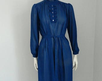 Retro 1980s Topper Sheer Blue Belted Secretary Dress Size Medium