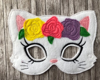 Flower Crown Cat Mask Felt Mask - Dress Up,  Costume, Pretend Play, Photo Props, Party Favours