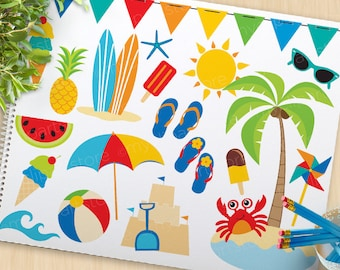A Day At The Beach Clipart, summer clip art, surfing, surfboards, umbrella, beach ball, Commercial Use, Vector clip art, SVG Cut Files