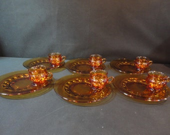 Vintage Amber Indiana Kings Crown Thumbprint Luncheon Snack Cups and Plates Six (6) sets