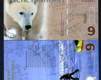 Arctic Territories, 9 dollars, 2012, Polymer, UNC, Polar Bear