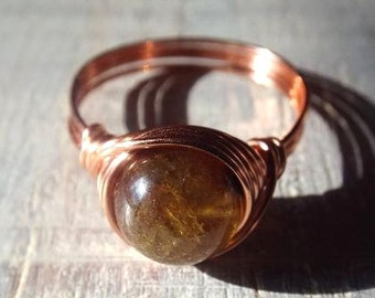 Green Garnet Ring, Copper Garnet Ring, Copper Wire Ring, Wire Wrapped Ring, Green Stone Ring, Earthy Jewelry, Green Garnet Jewelry, Gift