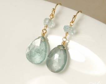 Gold Blue Aquamarine & Moss Green Aquamarine Teardrop Earrings - 14Kt Gold Filled