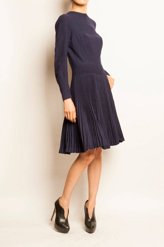 1960's navy wool crepe pleated day dress