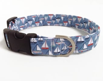 Boat Dog Collar | Dog Collar | Boy Dog Collar | Large Dog Collar | Male Dog Collar | Small Dog Collar | Puppy Collar | Blue Boy Collar