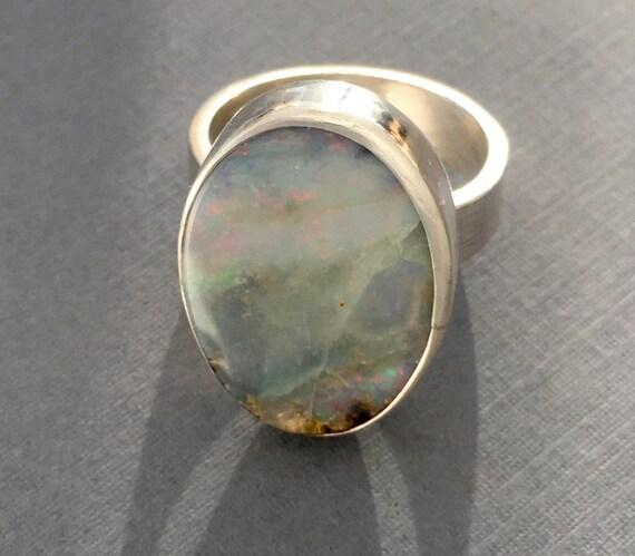 Large Australian Boulder Opal ring