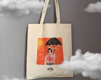 Being Unlucky on a Rainy Day Canvas Tote Bag, Shopper, Shoulder Bag, Fair Trade, Gift for Her, Shopper Bag, Gabardine Bag, Rainy Day Print