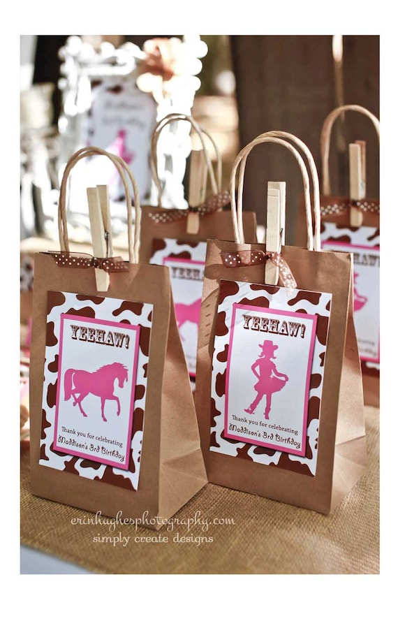 Sale Cowgirl Party Favor Bag Tag Digital File 4x6 Jpeg Digital