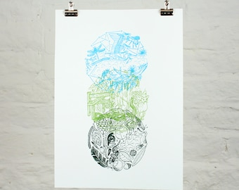 Look up, look around, look down (rural) (3-colour screenprint)