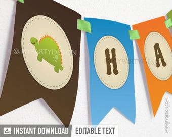 Dinosaur Party - Banner - Dino Party - INSTANT DOWNLOAD - Printable PDF with Editable Text