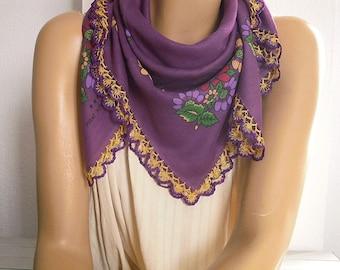 aubergine scarf, cotton, turkish oya scarf, crochet trim