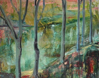 """Archival Print of Original Oil Painting """"Abstract River Through Trees"""""""