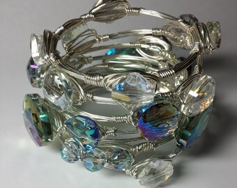 Boodle Bangle Ethereal Deep Ocean Blue/Green & Clear Crystal Silver Plated Bangles