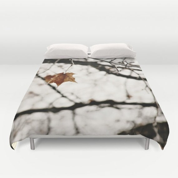 Gorgeous Art Duvet with White Frost and Leaf by SylviaCPhotography