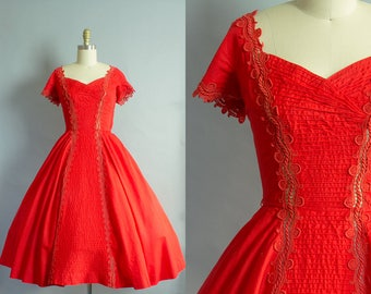 1950s Red Cotton Party Dress/ Small (36b/25W)