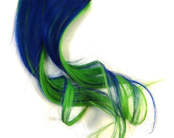 """Set of TWO 12"""" Clip-In Human Hair Streaks, Mermaid - blue green two tone festival hair extensions"""