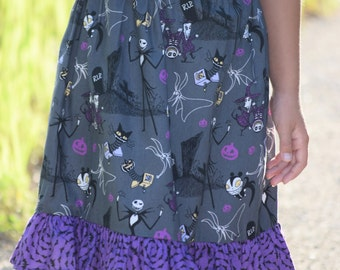 Jack Skellington, ruffle skirt, girls skirt, girls fashion, nightmare before Christmas