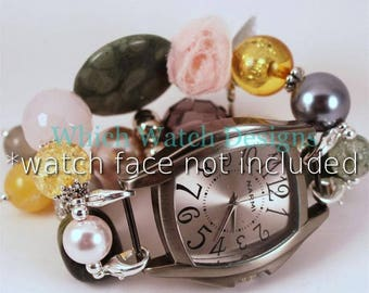 Vintage Floral.. Pink, Green, Gray and Yellow Beaded Watch Band