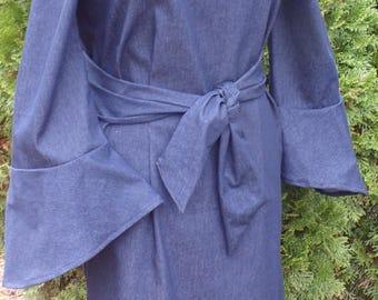 Denim off the shoulder dress/tunic with pockets and detached belt sash