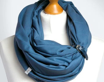 COTTON Infinity SCARF, blue scarf with leather clasp/cuff bracelet, infinity scarf, cotton scarf, tube scarf, basic scarf