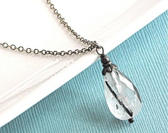 Rutilated Quartz Necklace - Sterling Silver
