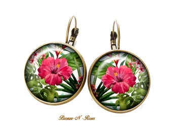 Tropical green costume jewelry gift Flower Earrings pink Stud Earrings