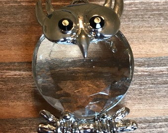 Crystal owl focal/Silver metal owl focal pendant/Owl necklace pendant/Clearance jewelry supplies