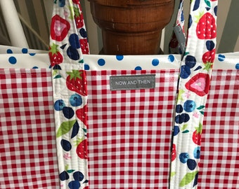 Red gingham with strawberries and blueberries---large reversible oilcloth tote
