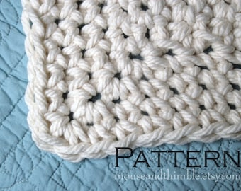 Queen Size Chunky Afghan Blanket / Easy Crochet PATTERN w/ Photos / PDF 8566