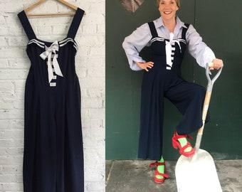 vintage nautical navy blue wide leg jumpsuit / sailor girl drapey striped pinafore pantsuit