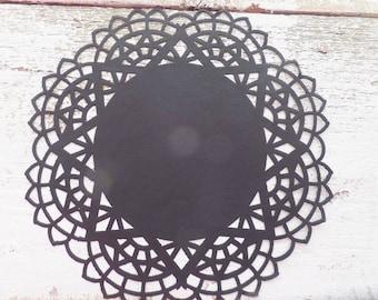 "Black PAPER Lace DOILIES ~ Black Die Cut ~ 24 count Halloween Party Decor / Crafts ~ 5.5"" Diameter ~ Food Presentation"