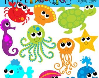 KPM Bright Sea Creatures digital clip art COMBO