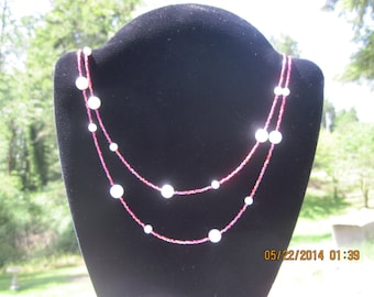BEAUTIFUL Extra Long Single Strand Ruby Red w/ Pearlsque Beaded Necklace...736h....OOAK