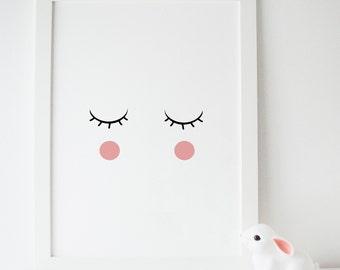 Sleepy Eyes Scandinavian Nursery Print children's art, nursery print, nursery art, baby room, kids room Print