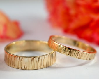 Yellow Gold Bark Wedding Bands: A Set of his and hers 18k Yellow Gold wedding rings