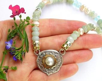 Aqua Marine, Blue Topaz, pearls, silver, gold, handmade necklace, zodiac Pisces, made in Israel, Israeli jewelry