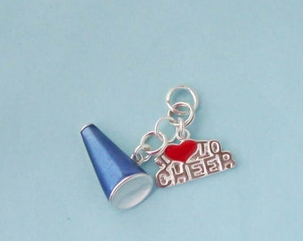 Sterling Silver Cheerleader Charms Set, Megaphone & I Love to Cheer
