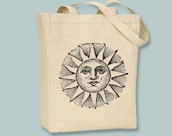 Vintage Ancient Sun Illustration Canvas Tote - Selection of sizes available