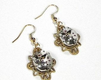 Steampunk Jewelry Earrings Vintage Watch Movements GOLD Filigree, Anniversary Wedding, VALENTINE Gift, Girlfriend - Steampunk by edmdesigns